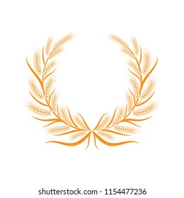 Grain on white background.  Floral frame. Vector grain. Floral wreath. Flower wreath. Harvest festival. Wheat field. Wheat crop.