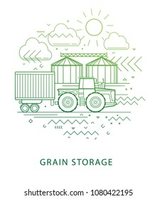 Grain storage. Farm buildings of the granary. Linear illustration of grain storage to silos. Illustration of agriculture, farming, husbandry. Linear vector illustration warehouse of grain crops