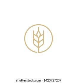 grain / wheat line vector icon logo design