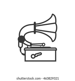 Gramaphone technology retro vintage icon. Isolated and flat illustration. Vector graphic