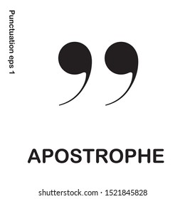 Grammar icon apostrophe sign from my punctuation set. Typographical element isolated illustrator.