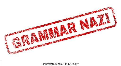 GRAMMAR NAZI stamp seal print with distress style. Red vector rubber print of GRAMMAR NAZI text with grunge texture. Text tag is placed inside rounded rectangle frame.