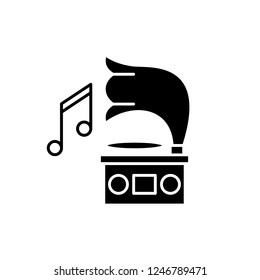 Gramophone black icon, vector sign on isolated background. Gramophone concept symbol, illustration