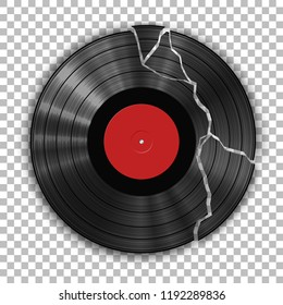 Gramophone broken vinyl LP record template isolated on checkered background. Vector illustration