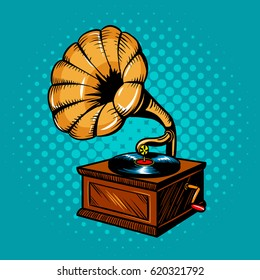 Gramophone comic book pop art retro style vector illustration