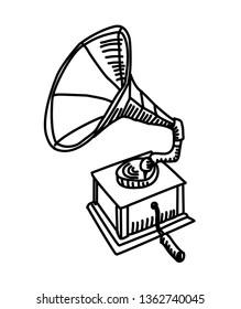 Gramophone drawing. Vector