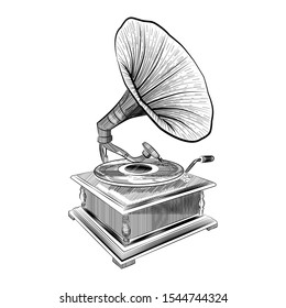 Gramophone in engraved, hand drawn  style. Vector illustration, isolated on white background. Vintage, retro music element for poster, banner