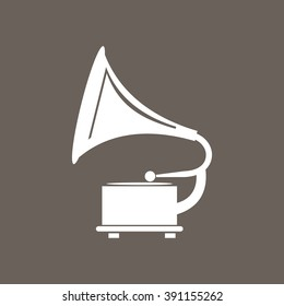 Gramophone Icon on Dark Gray Color. Eps-10.