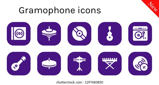 gramophone icon set. 10 filled gramophone icons. Simple modern icons about  - Vinyl, Cymbals, Instrument, Turntable, Mandolin, Electric piano, Vynil