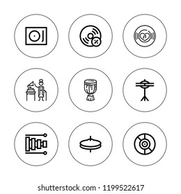 Gramophone icon set. collection of 9 outline gramophone icons with cymbals, djembe, gramophone, record player, record, vynil, vinyl icons. editable icons.
