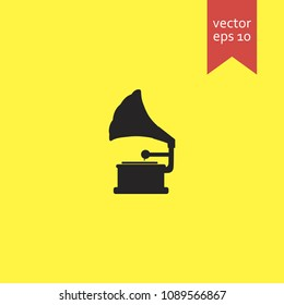 gramophone. gramophone icon. sign design. Vector EPS 10.