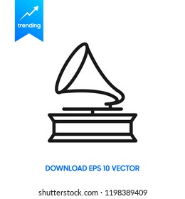 Gramophone icon. Simple illustration of gramophone vector icon for web