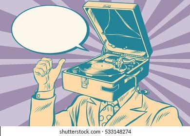 Gramophone man music playing. Old illustration. Pop art retro vector