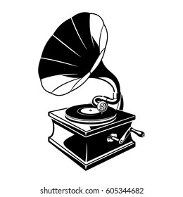 Gramophone negative space sketch illustration