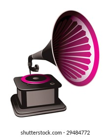gramophone on a black background