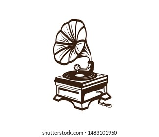 Gramophone and Phonograph Record Player Illustration Silhouette