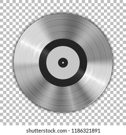 Gramophone platinum vinyl LP record template isolated on checkered background. Vector illustration