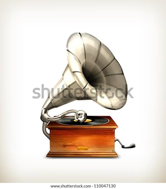 gramophone vector stock vector royalty free 110047130 shutterstock