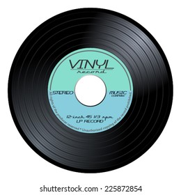 Gramophone vinyl LP record with blue and green label. Black music long play album disc 45 rpm. old technology, realistic retro design, vector art image illustration isolated on white background eps10