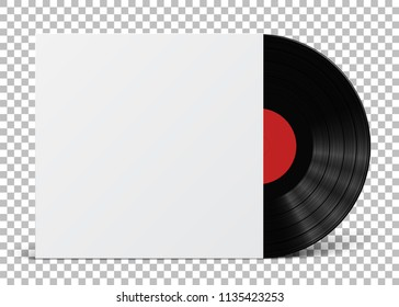 Gramophone vinyl LP record cover template isolated on checkered background. Vector illustration