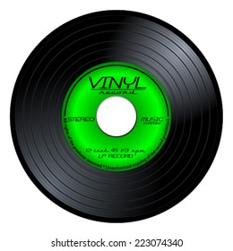Gramophone vinyl LP record with green label. Black musical long play album disc 45 rpm. old music technology, realistic retro design, vector art image illustration isolated on white background eps10