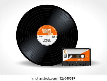 Gramophone vinyl LP record and music cassette with orange label. Long play album disc 33 rpm and compact audio tape - realistic retro design, vector art image illustration isolated on white background
