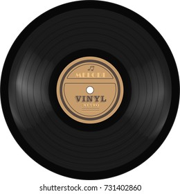gramophone vinyl LP record. Old technology, realistic retro design, vector illustration, isolated on white background