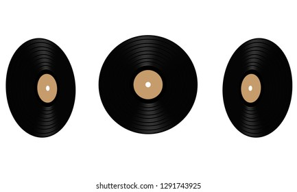Gramophone vinyl LP record with orange label. Old vintage Black musical long play album disc 33 rpm. Vector illustration.