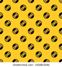 Gramophone vinyl LP record pattern seamless vector repeat geometric yellow for any design