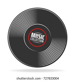 gramophone vinyl record with label. Music collection. old technology, retro sound design. vector illustration, isolated on white background
