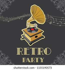 Gramophone with vinyl record. Vintage poster for retro party