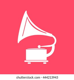 Gramophone white icon on magenta color background. Eps-10.