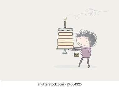 Gran holding a birthday cake