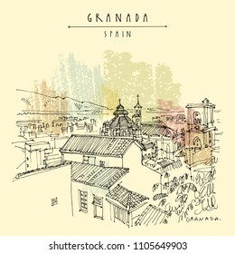 Granada, Andalusia, Spain. Aerial view of historical city and Cathedral. Hand drawing. Travel sketch. Vintage touristic postcard, poster or book illustration in vector