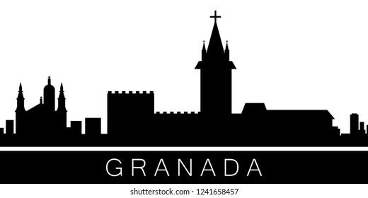 Granada detailed skyline. Vector postcard illustration