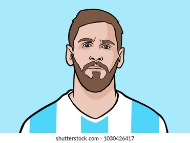 Granada / Spain - February 21, 2018: Argentinean footballer FC Barcelona Leo Messi. Vector portrait illustration