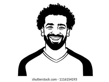 Granada / Spain - June 19, 2018: Egiptian footballer Egypt Mohamed Salah Ghaly. Vector portrait illustration