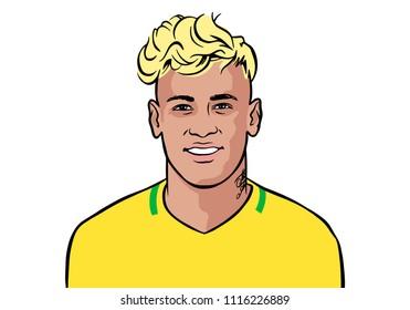 Granada / Spain - June 19, 2018: Brazilian footballer Brazil Neymar Jr vector portrait illustration