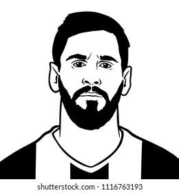 Granada / Spain - June 19, 2018:  Argentinean footballer FC Barcelona Leo Messi. Vector portrait illustration