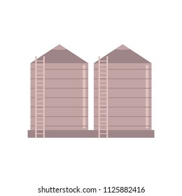 Granary farm construction - vector illustration of village tower to store bulk materials and silo isolated on white background. Agricultural storehouse for grain in flat style.