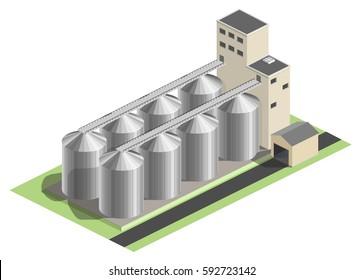 Granary vector illustration, granary for grain. Industrial building, factory