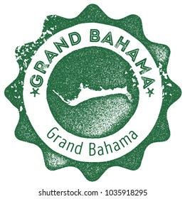 Grand Bahama map vintage dark green stamp. Retro style handmade island label, badge or element for travel souvenirs. Vector illustration.