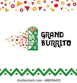 Grand Burrito Logo design template. Vector mexican traditional food illustration in flat style. Trendy colorful label, logotype, sign for a cafe, restaurant, fast food, snack bar