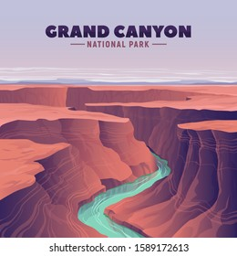 Grand Canyon and Colorado river. Vector illustration. United States landmarks.