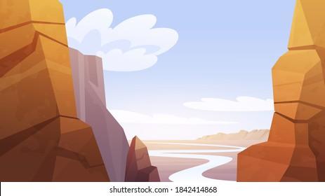 Grand Canyon desert landscape vector illustration. Cartoon background.