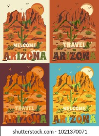 Grand Canyon landscape with mountains, rocks, stones, cactuses and sun. United States, Arizona. Set of t-shirt prints, travel posters or banners with slogan in flat retro style. Vector