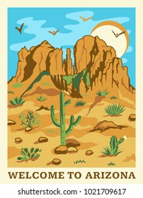 Grand Canyon landscape with mountains, rocks, stones, sun, clouds and cactuses. Arizona state illustration for travel poster in retro style. Vector
