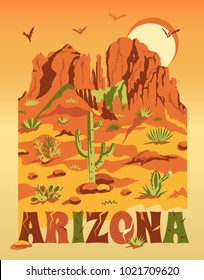 Grand Canyon landscape with mountains, rocks, stones, cactuses and sun. Arizona scenery Illustration for T-shirt print, travel poster, advertisement or banner. Vector