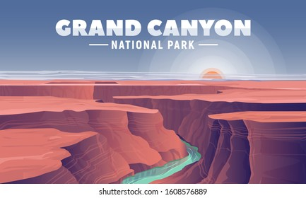 Grand Canyon landscape and view on Colorado river. Vector illustration for web and banner. Most famous United States natural landmarks. Arizona National Park.