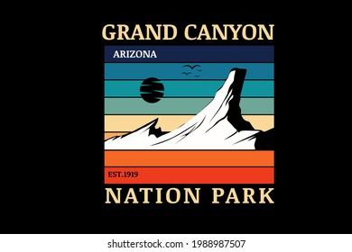 grand canyon nation park arizona color orange green and blue